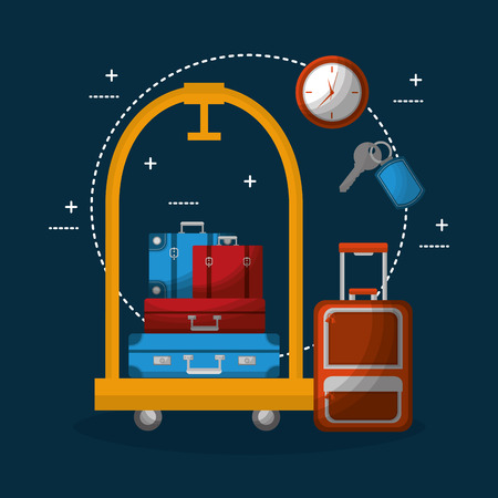 hotel luggage trolley stacked suitcases bag clock vector illustration Çizim