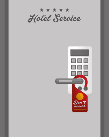 hotel service door electronic access panel not disturb tag vector illustration