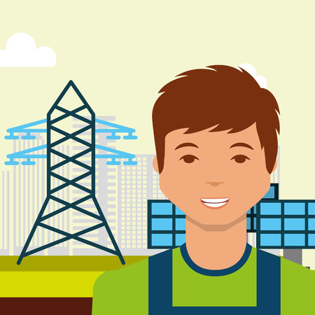 young man solar panel electric tower energy sustainable vector illustration Ilustração