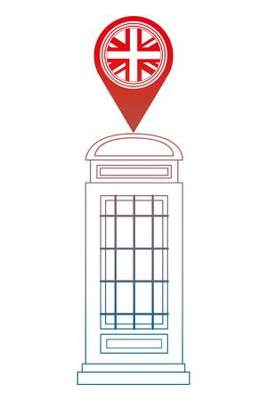 london telephone box british flag in pin map vector illustration gradient design Stock Illustratie