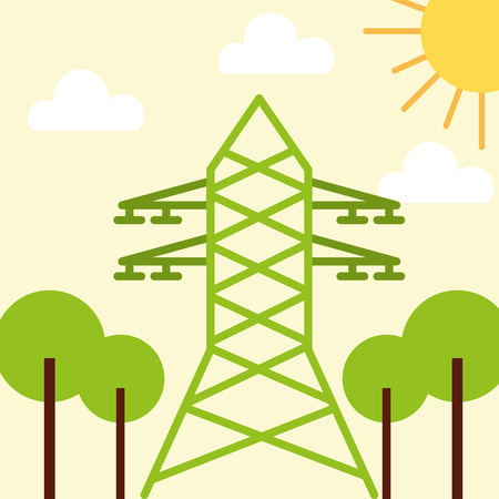 eletricity tower tree sun ecology energy vector illustration  イラスト・ベクター素材