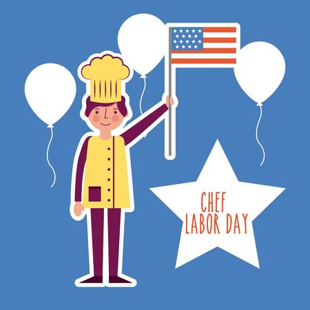 labor day card smiling man celebrate chef balloons american flag vector illustration
