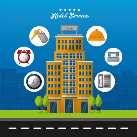 hotel building service clocks ring reception call key suit vector illustration
