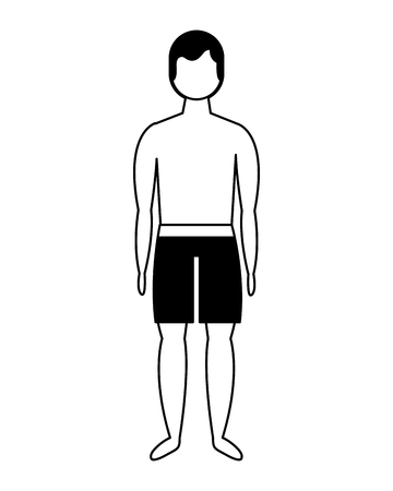 male figure character in short swimsuit vector illustration Stock Vector - 114969480