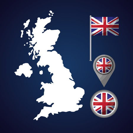 united kingdom country grunge map british flag location sticker vector illustration