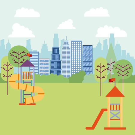 park and city high buildings game for childrens shrubbery trees vector illustration Ilustrace