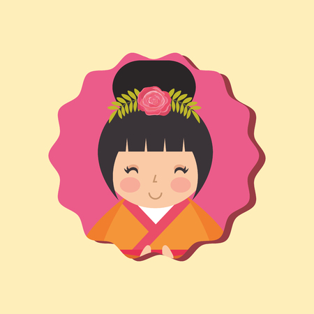 cute traditional japanese kokeshi doll in kimono vector illustration Banque d'images - 114969484