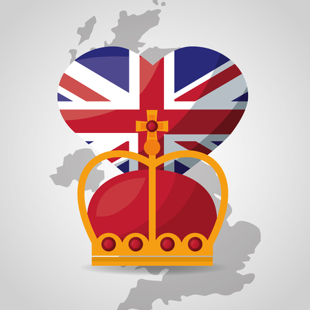 united kingdom places flag crown queen map background vector illustration Çizim