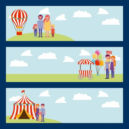 banners family with hot air balloon food car circus fun day vector illustration