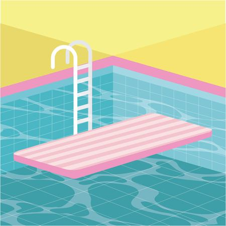 summer time vacation stairs pool mattress float vector illustration Illustration