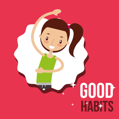 nettes Mädchen Aktivität Lebensstil gute Gewohnheiten Vektor-Illustration