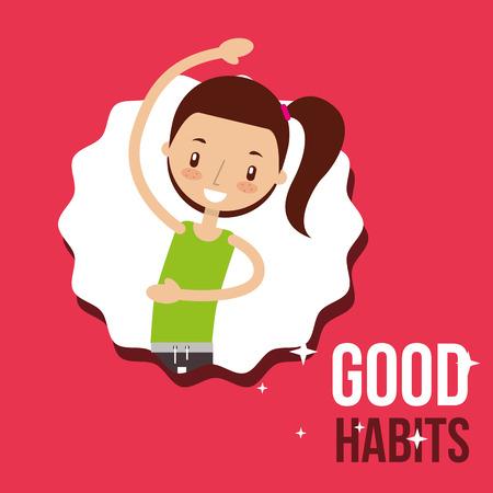 schattig meisje activiteit levensstijl goede gewoonten vector illustratie