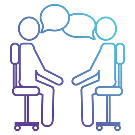 person silhouettes in office chairs with speech bubbles vector illustration design Illustration