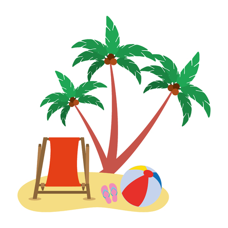 beach chair ball sandals and coconut palm vector illustration