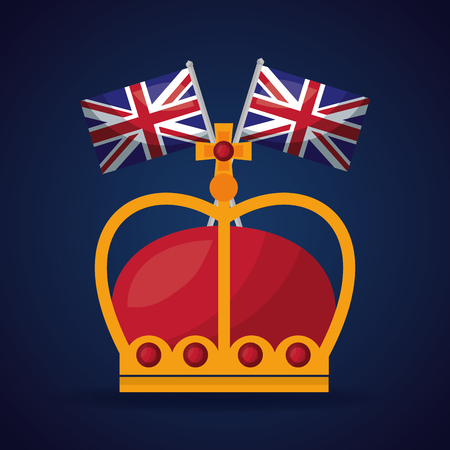 united kingdom country two flags red crown queen throne vector illustration