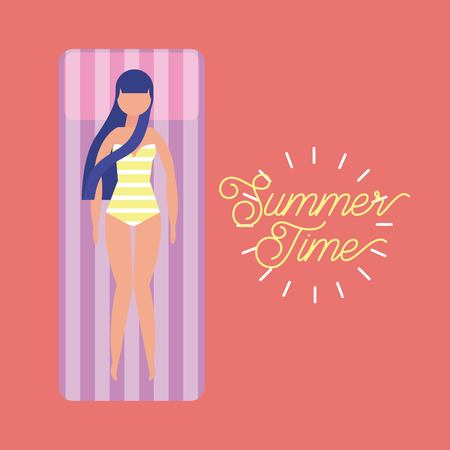 summer time vacation girl enjoy lying on an inflatable mattress vector illustration  イラスト・ベクター素材