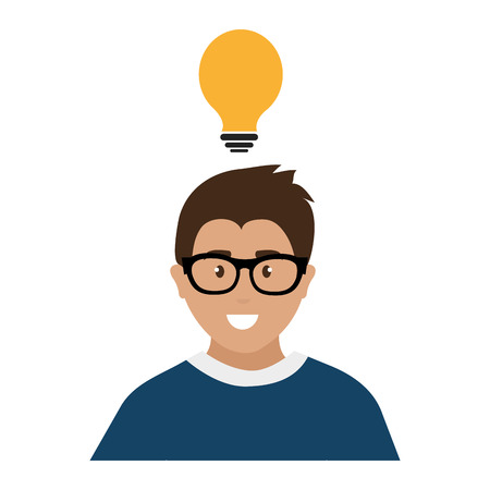 man with bulb icon vector illustration design