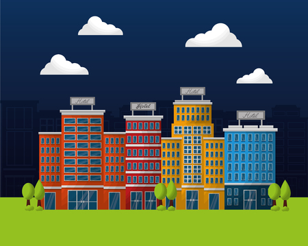 hotel building service night clouds trees lodging colorful vector illustration