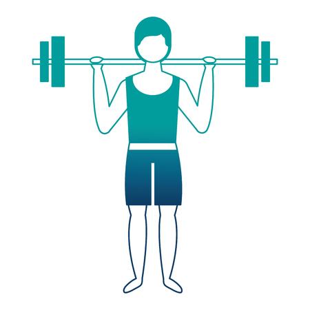 bodybuilder man in short swimsuit lifting barbell vector illustration  イラスト・ベクター素材
