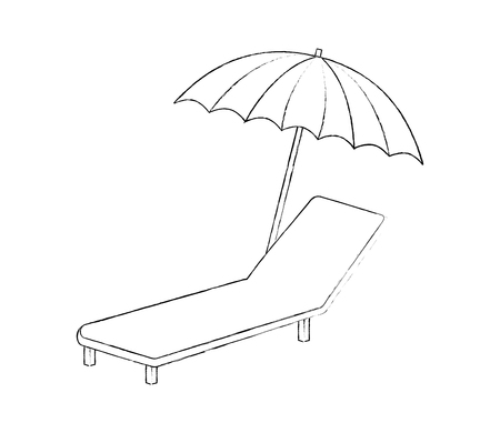 deck chair and beach umbrella vector illustration