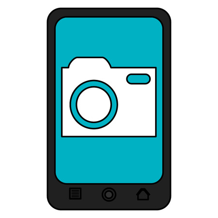 smartphone device with photographic camera vector illustration design