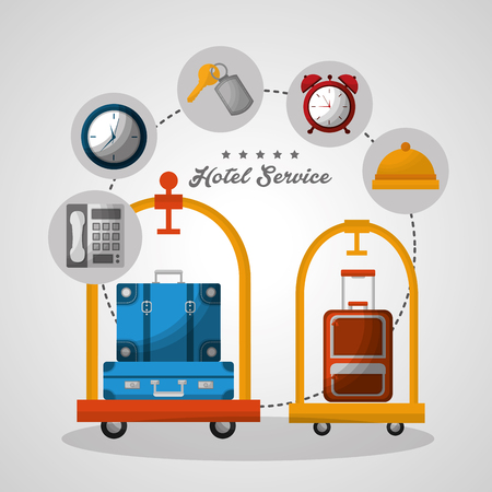 hotel building taxi and suitcase luggage carts colors handbags clock key suit telephone vector illustration
