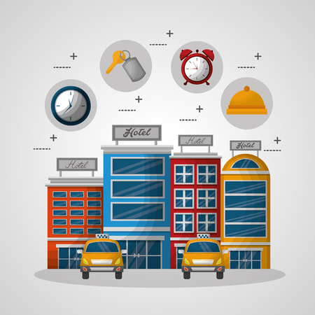 hotel building taxis suitcase stickers ring red clock key suit vector illustration Stok Fotoğraf