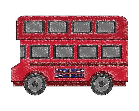 Ilustración de vector de transporte de autobús de dos pisos de Londres