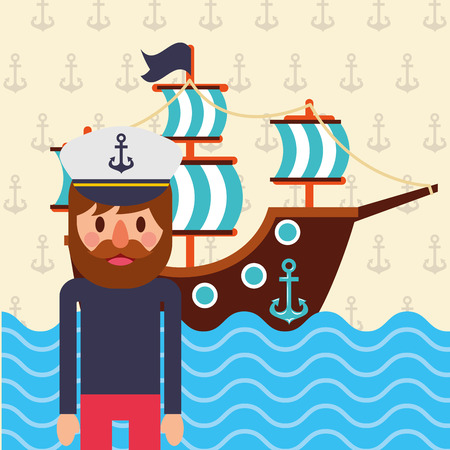 nautical maritime design ship pirate ocean vector illustration