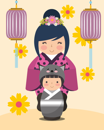 japanese kokeshi dolls kimono flowers lanterns vector illustration