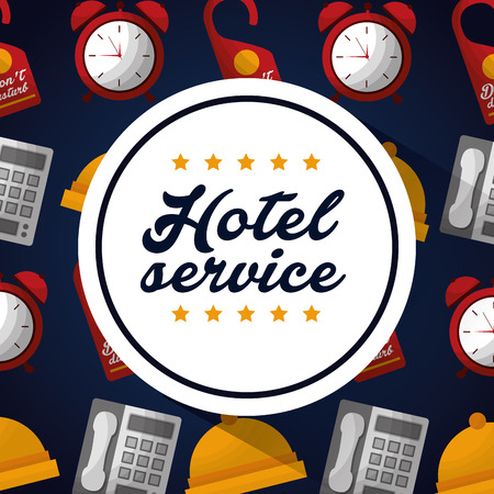 hotel building service sticker sign ring telephones background vector illustration