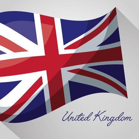 united kingdom country wave flag british shadow vector illustration Illustration