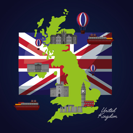 united kingdom country flag green grunge map places in london boats vector illustration