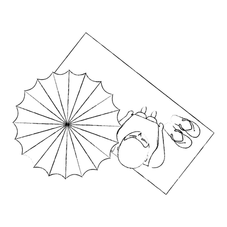 top view man on towel with beach umbrella with sandals vector illustration