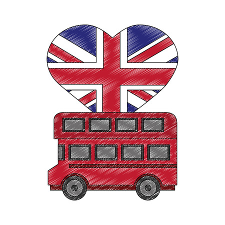 london double decker bus flag in heart vector illustration