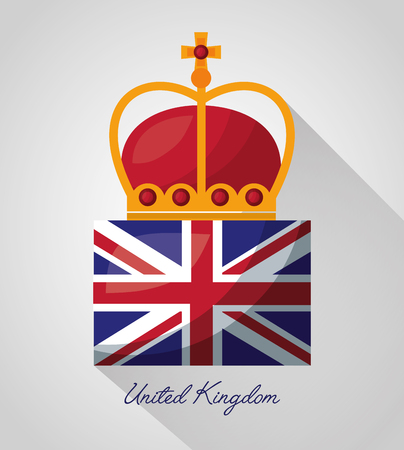 united kingdom country flag crown queen vector illustration