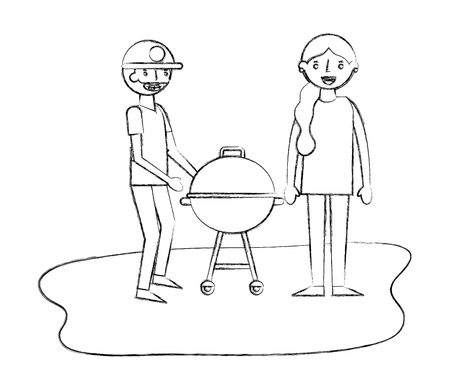 couple with grill barbecue in the park vector illustration sketch
