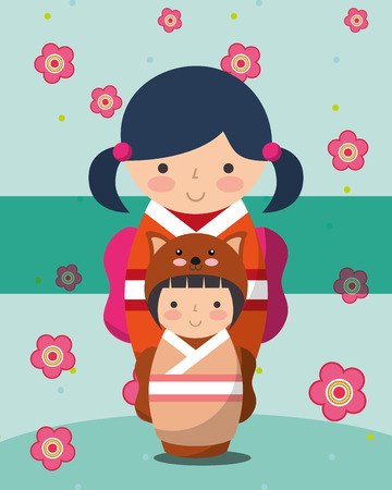 japanese kokeshi dolls kimono flowers cat dress vector illustration