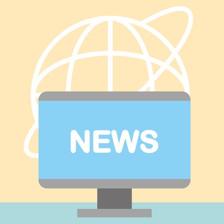 news communication relate computer screen sign world background vector illustration Ilustração