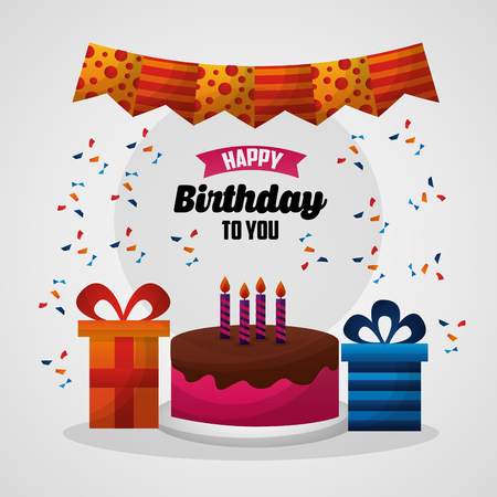 happy birthday card colors pennants serpentines cake gift boxes vector illustration