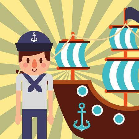 nautical maritime design pirate ship cute sailor smiling vector illustration