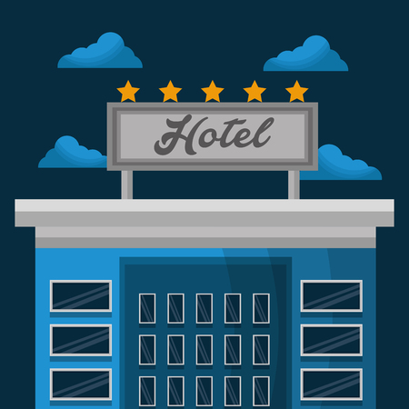 hotel service building lodging clouds vector illustration