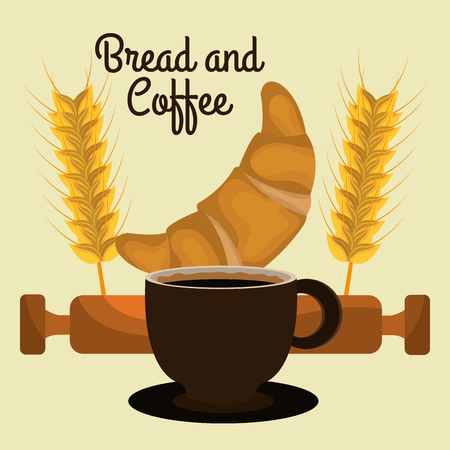 delicious croissant bread and coffee label vector illustration design Illustration