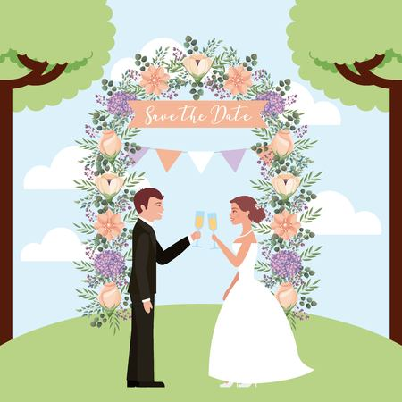 couple toasting wine wedding arch flowers save the date vector illustration