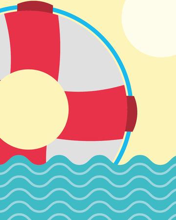 nautical maritime design ocean float rescue vector illustration Illustration