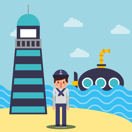 nautical maritime design clouds lighthouse submarine sea vector illustration