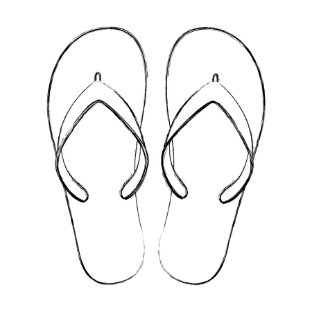 flip flops beach shoes accessories rubber vector illustration Çizim