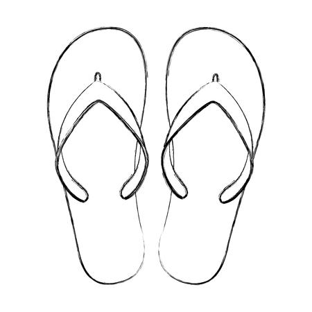 flip flops beach shoes accessories rubber vector illustration Illustration