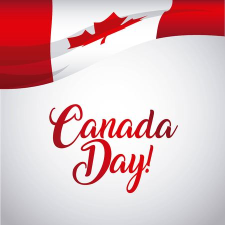happy canada day card degrade background wave flag vector illustration
