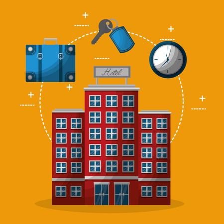 hotel building clock suitcase and keychain key vector illustration